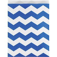 Club Pack of 120 Cobalt Blue and White Chevron Printed Party Treat Bags 11""
