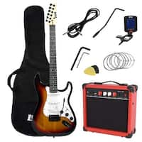 LyxPro Full Size Electric Guitar with 20w Amp, Digital Tuner, Strings, Picks, Tremolo Bar, Shoulder Strap, and Case Bag