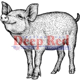 "Deep Red Cling Stamp 2""X2""-Piglet"