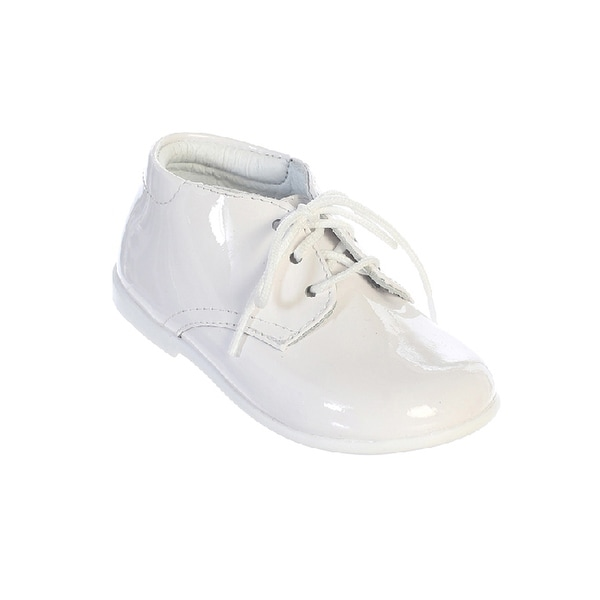 Kids White Patent Leather Lace Up