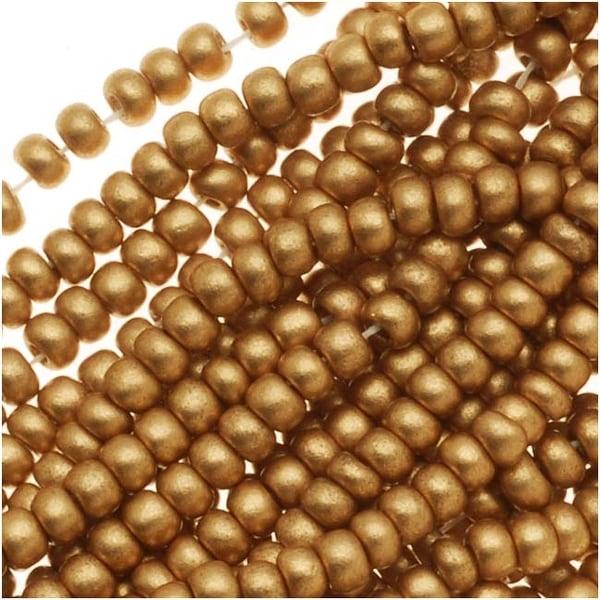 Czech Seed Beads 11/0 Light Gold Supra Metallic (1 Hank)