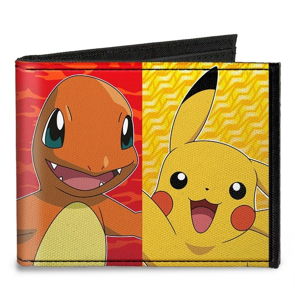 Pikachu & Kanto Starter Pok�mon Type Panels Canvas Bi Fold Wallet One Size - One Size Fits most