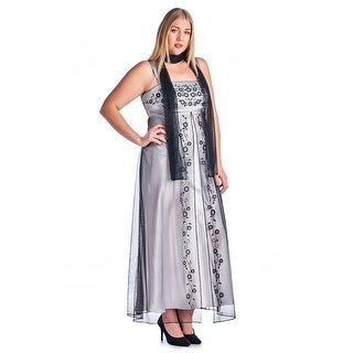 Ignite Women's Plus Size Embroidered Evening Gown with Shall - Black/silver