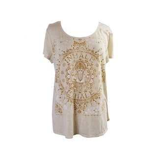 Style & Co. Oatmeal Medallion-Graphic Shirttail-Hem T-Shirt L