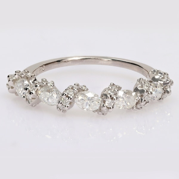 Miadora 1ct DEW Oval Moissanite Swirl Semi-Eternity Wedding Band Ring in Sterling Silver. Opens flyout.