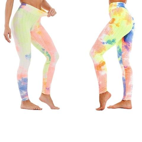 Women's Tie Dye High Waist Tummy Control Butt Lift Yoga Pants Workout Leggings