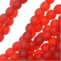 Czech Glass Druk Round Beads 4mm Matte Siam Red (100) - Thumbnail 0
