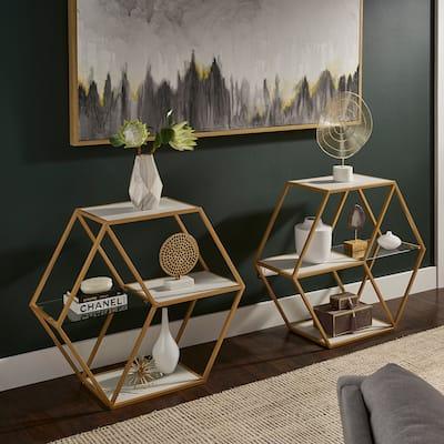 Rae Hexagon Wood and Glass 4-Shelf Modular Bookcase by iNSPIRE Q Bold - Bookshelf