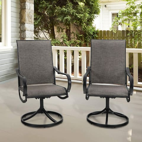 MFSTUDIO 2-pieces Patio Sling Dining Swivel Chair Conversation sets