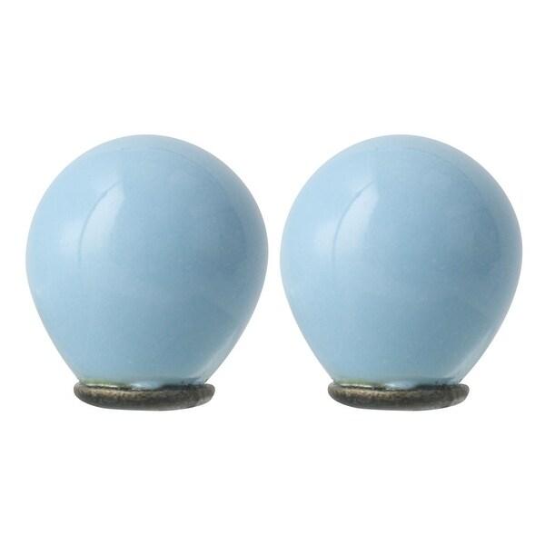 2pcs Ceramic Knobs Vintage Knob Drawer Round Puller Handle Furniture Cabinet Cupboard Wardrobe Dresser Decorative, Pale Blue