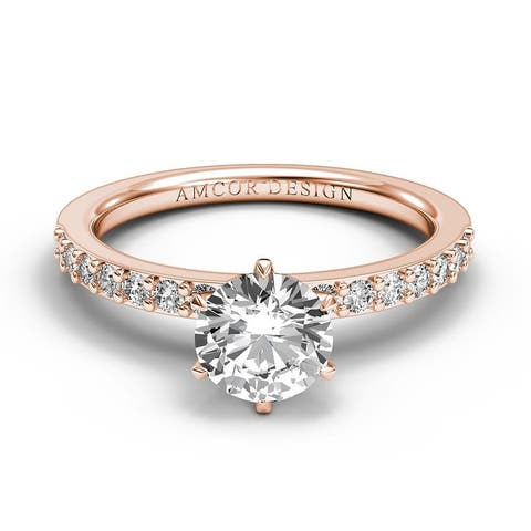 14KT Gold 5/8 Carat Diamond Engagement Ring Round Prong Set Solitaire