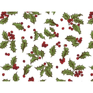 """Pack Of 120, Holly Berry Toss Recycled Christmas Printed Tissue Paper 20"""" X 30"""" Sheets Half Ream Made In Usa"""