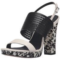 Calvin Klein Womens Breannie Leather Open Toe Casual Platform Sandals