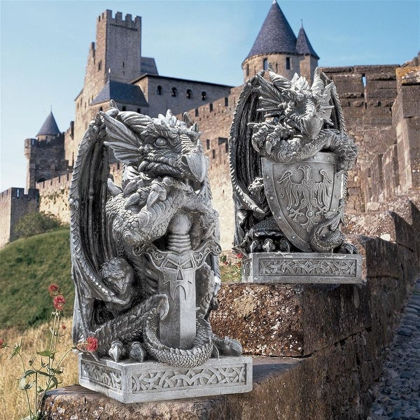 Design Toscano The Arthurian Dragon Statues: Set of Sword & Shield