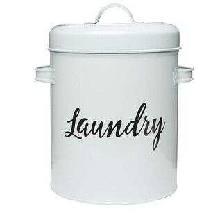 Amici Home Launderette Large White Metal Storage Canister 140 oz