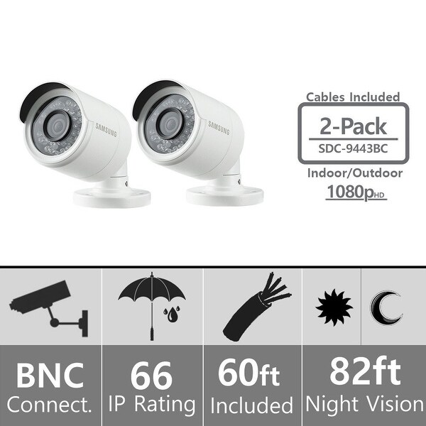 Lot of 2 - Samsung SDC-9443BC Weatherproof 1080p High Definition Camera