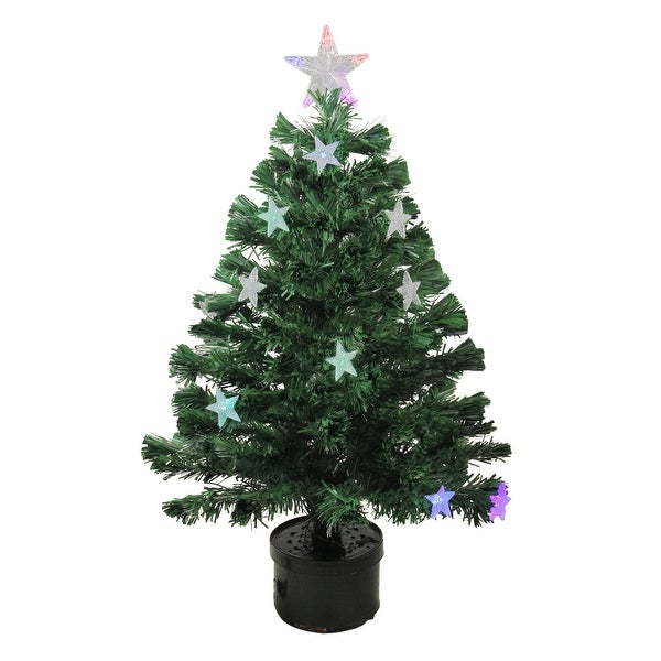 3' Pre-Lit LED Color Changing Fiber Optic Christmas Tree with Stars - green