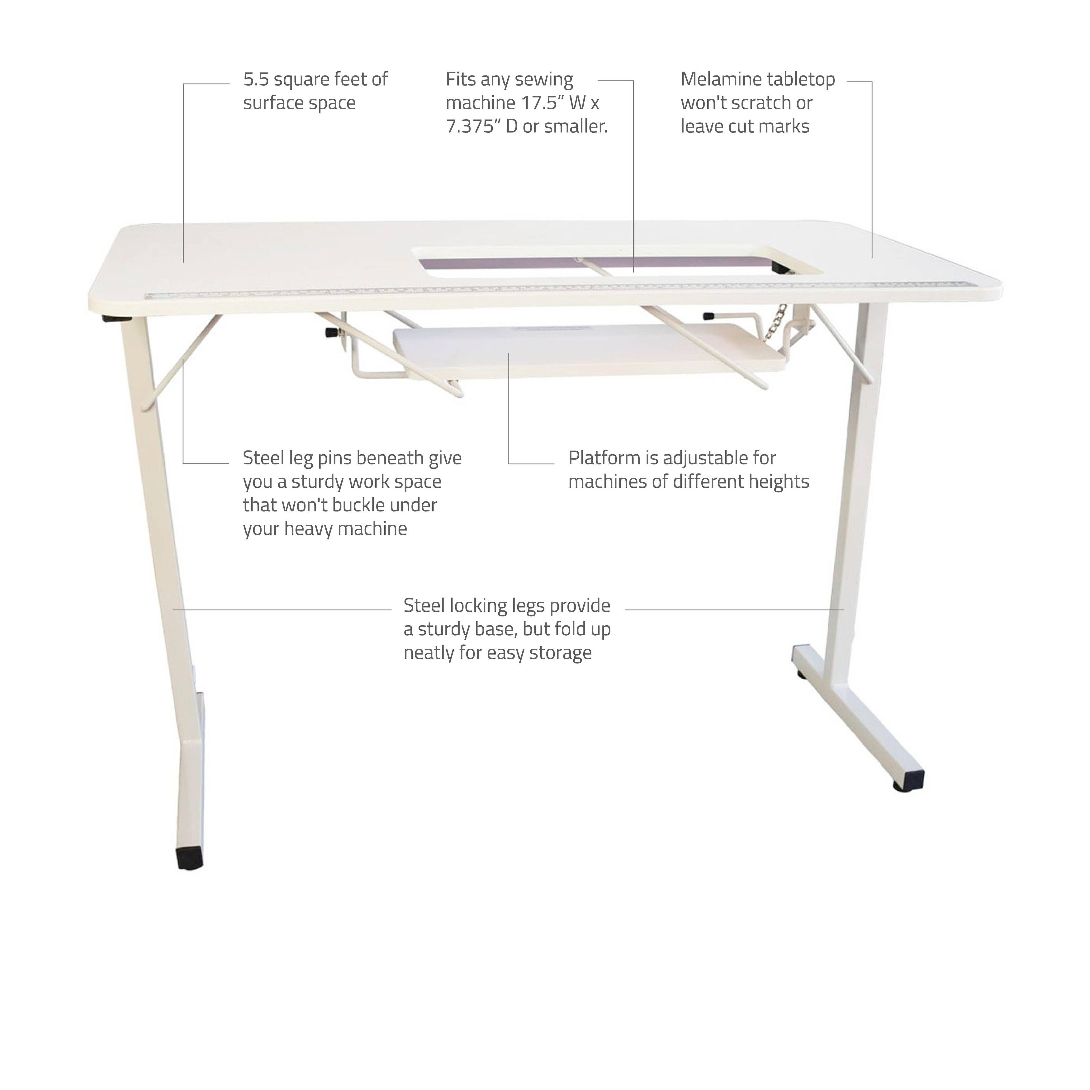 - Shop Sewingrite Foldable Sewing Craft Hobby Utility Table - White