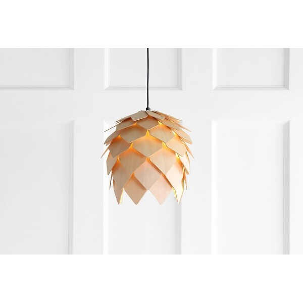 """Simon 11.75"""" Pinecone Wood LED Pendant, Natural/Black by JONATHAN Y. Opens flyout."""