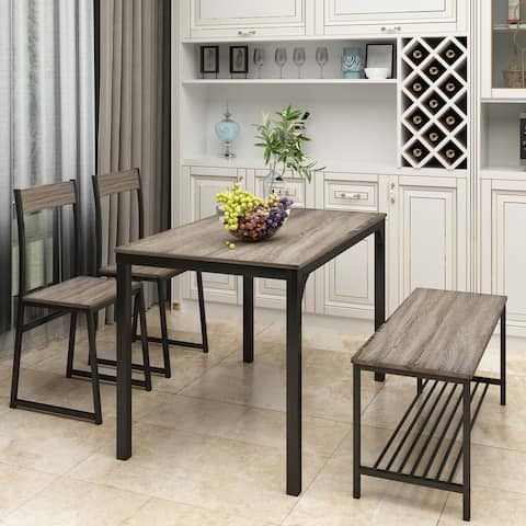 4 Piece Dining Set for 4 Kitchen Table Set Computer Desk with 2 Chairs and Bench for Home Dining Room