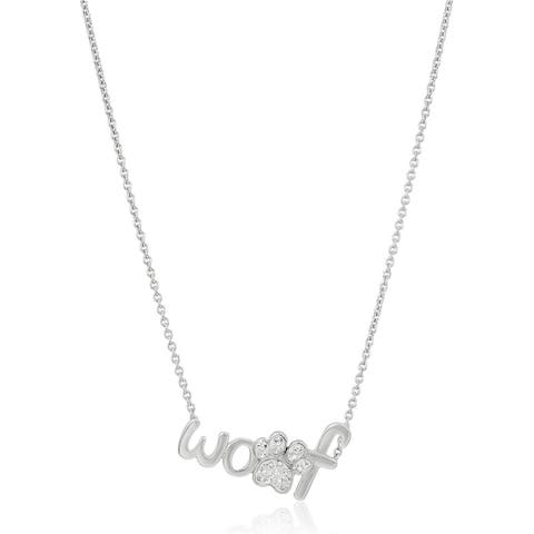 """Crystaluxe 'Woof' & Paw Pendant with Swarovski Crystals in Sterling Silver, 18"""" - White"""