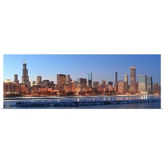 """Chicago, Illinois across Lake Michigan"" Poster Print"