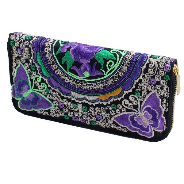 Embroidered Flower Butterfly Design Zip Up Coin Money Purse Wallet Black Purple