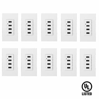 10 Pack 4 USB Charging Wall Outlets, 2 Wall Plate, White