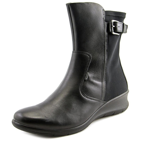 Ecco Babett Mid Cut Zip Wedge Round Toe Leather Mid Calf Boot