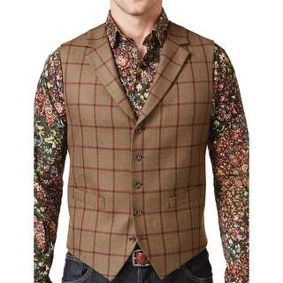 Tallia Orange Mens Slim Brown Olive Windowpane Wool Vest 36 Regular 36R Waistcoat