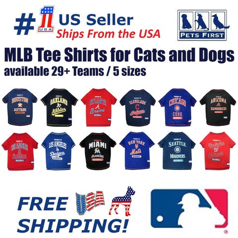 0e7c3b902df MLB Tee Shirt for Dogs   Cats. Officially Licensed 20+ Baseball Teams
