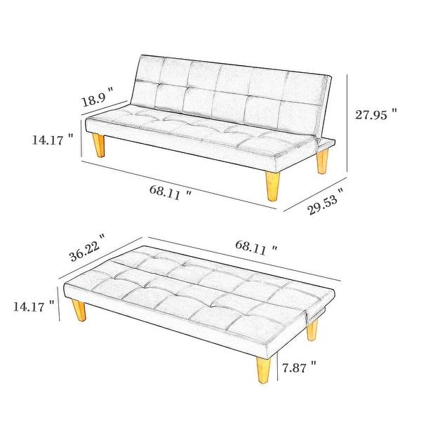 PU Leather Convertible Folding Futon Sofa Bed