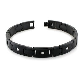 Men's Black Plated Tungsten Carbide Link Bracelet Bracelet with 3 Round CZ Stones- 9 Inches