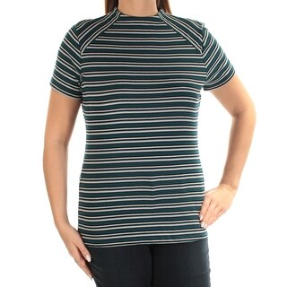 Womens Teal Striped Short Sleeve Crew Neck Top Size M
