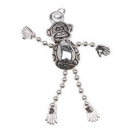 Silver Plated Dancing Monkey With Dangle Limbs Charm 31mm (1)