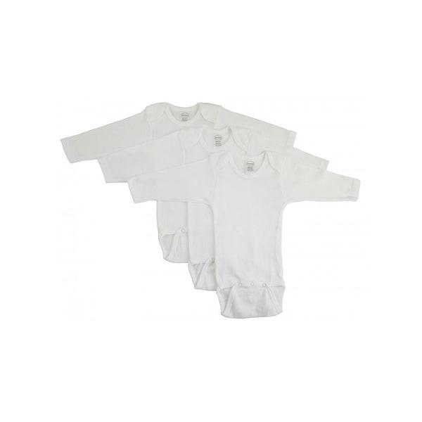 Bambini Rib Knit White 100% Cotton Long Sleeve One Piece
