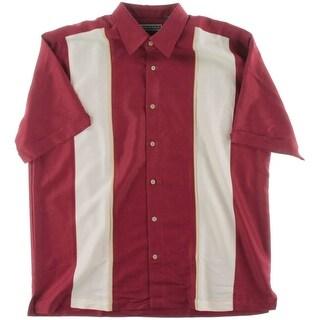 Cubavera Mens Panel Ribbed Button-Down Shirt - L