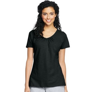 Hanes Women's Slub Jersey Shirred V-Neck - Size - XL - Color - Black