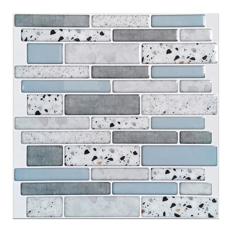 "Art3d 12""x12"" Vinyl Peel and Stick Backsplash Tile (10-Pack) aqua stone look"