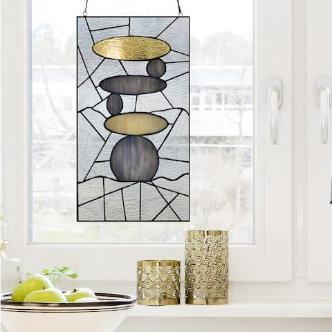 """River of Goods 18""""H Namaste Stained Glass Window Panel"""