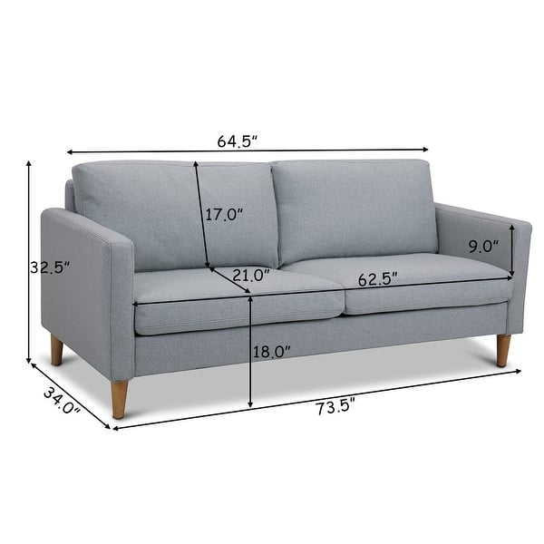 Shop Costway Modern Fabric Couch Sofa Love Seat Upholstered ...