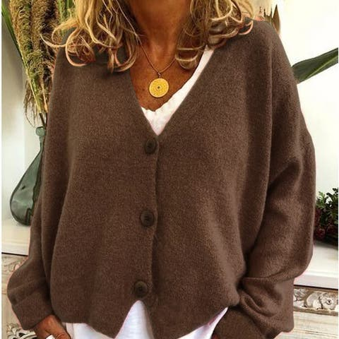 13 Colors Autumn And Winter Casual Cardigan Women's V-Neck Knitted Sweater Coat Long Sleeve Coat