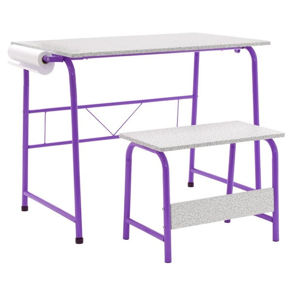 Offex Project Center, Kids Craft Table with Bench Gray - Purple
