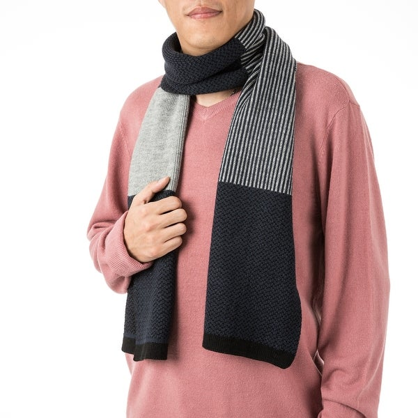 """Glitzhome 69""""L Men's Black White and Grey Scarf. Opens flyout."""