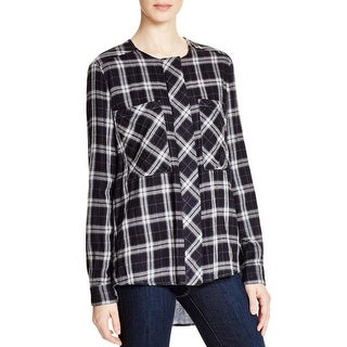 Pure DKNY Womens Button-Down Top Heathered Back Plaid