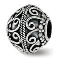 Sterling Silver Reflections Polished Antiqued Bead (4.5mm Diameter Hole) - Thumbnail 0