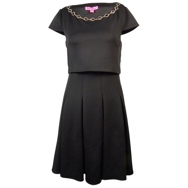 Betsey Johnson Women's Embellished Pop Over Cap Sleeve Dress - Black