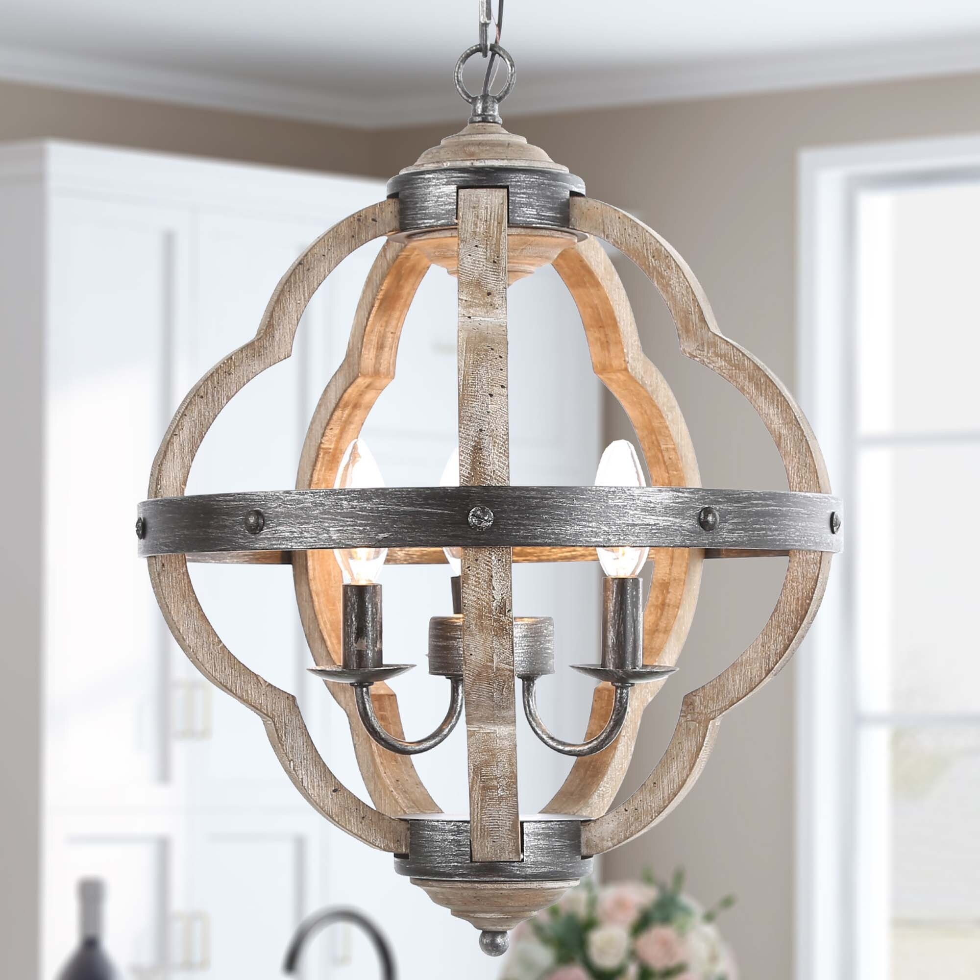 Farmhouse Lantern Candlestick Chandelier 3 Lights Hanging Ceiling Lighting For Dining Room Overstock 29187513 W15 X H19 Taupe Lantern