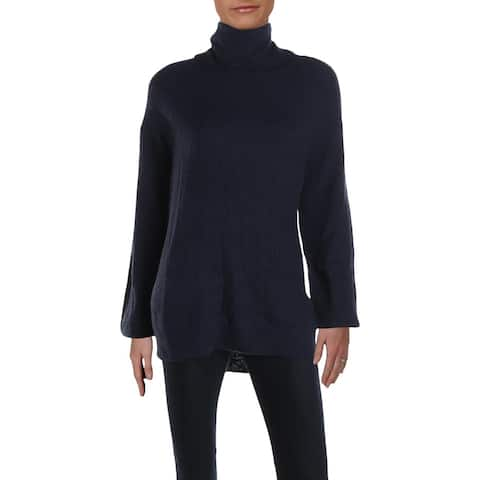 RD Style Womens Turtleneck Sweater Ribbed Knit Pullover - Mariner Blue - XS