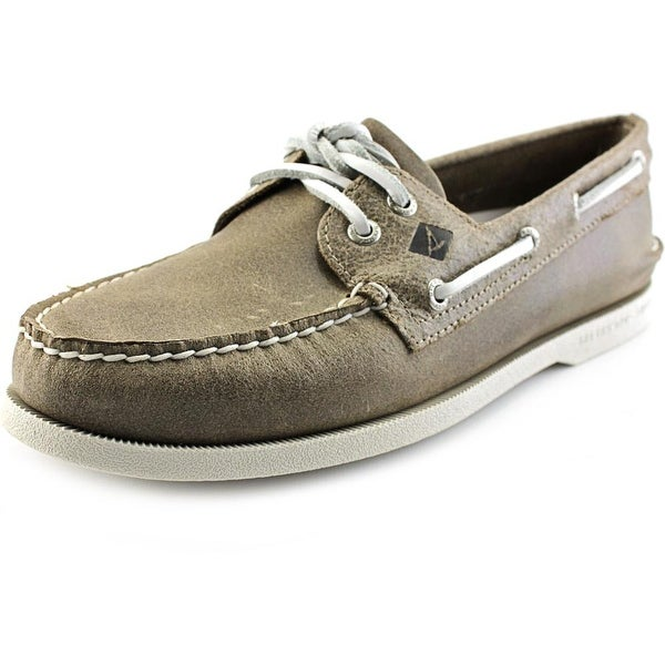 Sperry Top Sider A/O 2-Eye White Cap Men Moc Toe Leather Brown Boat Shoe